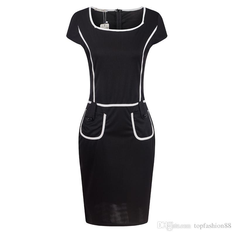 Hot Summer Street Style Dress Crayon Pour Femmes De Mode Patchwork Contraste Couleur Slim À Manches Courtes OL Moulante Robes De Fête