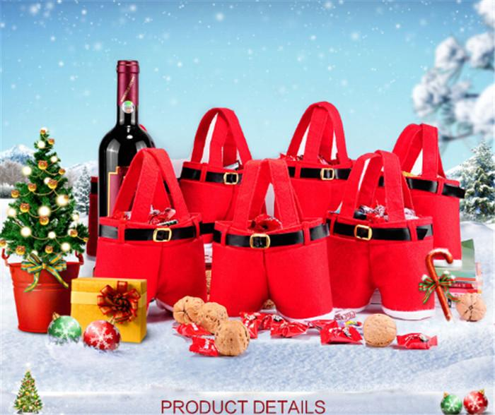 best price red bag Xmas Bag For Children Santa pants style Christmas Decoration Christmas Wedding Candy Bags christmas gift D395