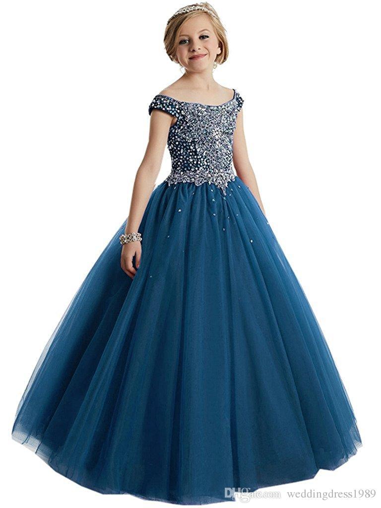Elegante Perlen Pailletten Mädchen Pageant Kleider 2018 Kristall Mädchen Kommunion Kleid Ballkleid Kinder Abendgarderobe Blumenmädchenkleider für Hochzeit