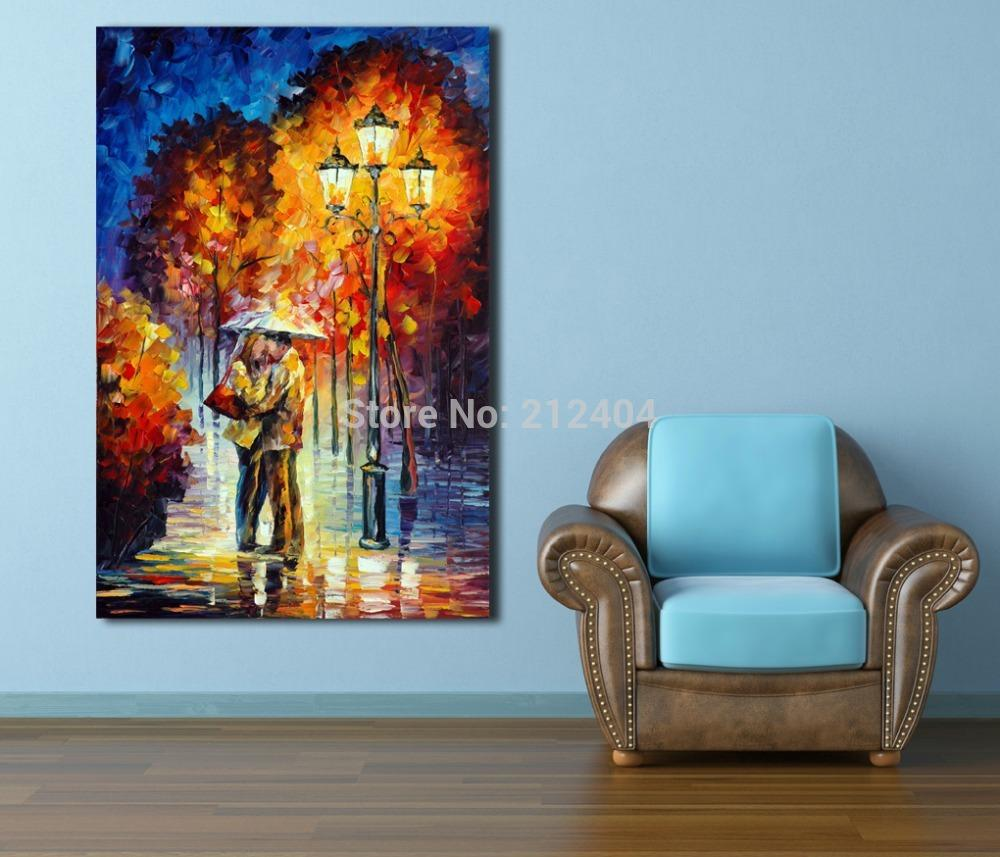 modern art for office. 2018 Kiss Goodbye At Rainy Night Modern Love Painting Palette Knite Oil Canvas Print Wall Art Home Office Cafe Mural Decor From Asenart, For S