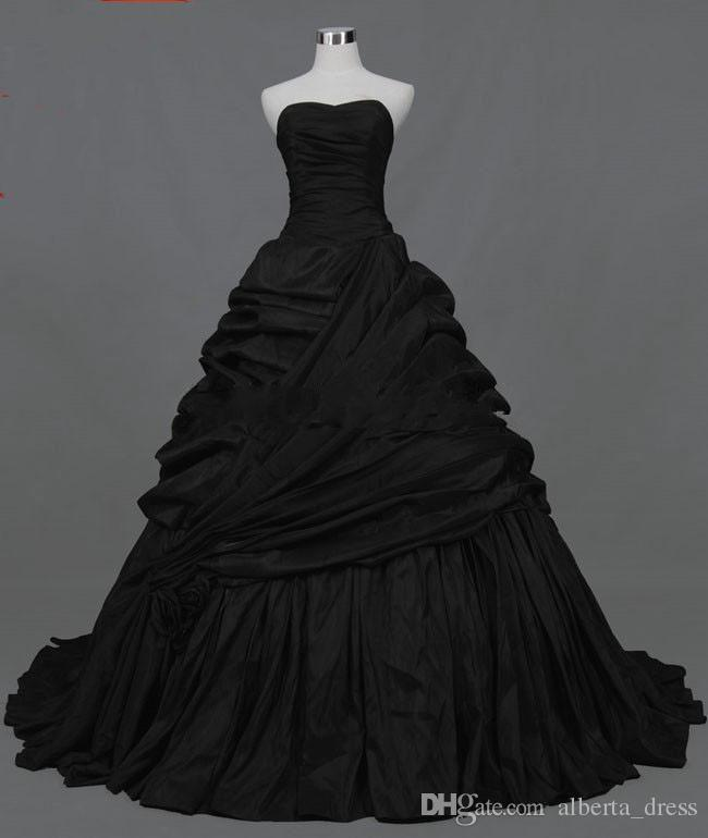 2019 new design black taffeta A-line Strapless Actual Images Pleated Ruffle Taffeta Floor Length gothic victorian black Wedding Dresses