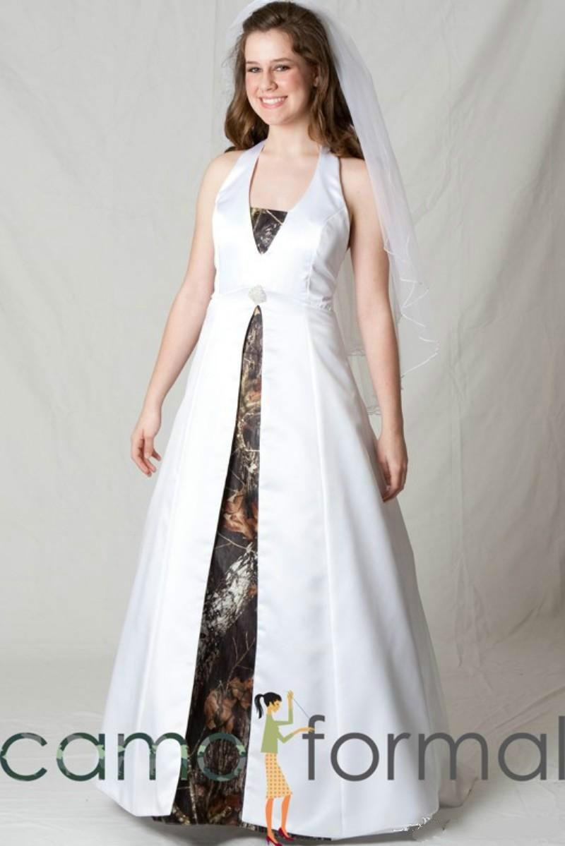 6c1b3298ad58e Discount Halter Split Front Maternity Camo Wedding Gowns Realtree  Camouflage Bridal Dresses For Maternity Pregnant Woman White Camo Bride  Dress 2015 V Neck ...