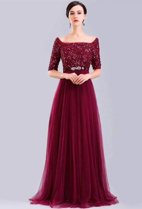 Boat Neck Burgundy Prom Dress With Short Sleeves A Line