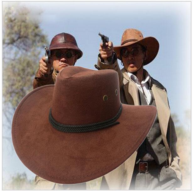 New American Cowboy Chapéu de Sol de Couro Falso Chapéu de Cowboy Homens e  Mulheres Tampas de Viagem Ao Ar Livre Moda Ocidental Chapéus Chapeu Cowboy  7 ... e8cb9844c37