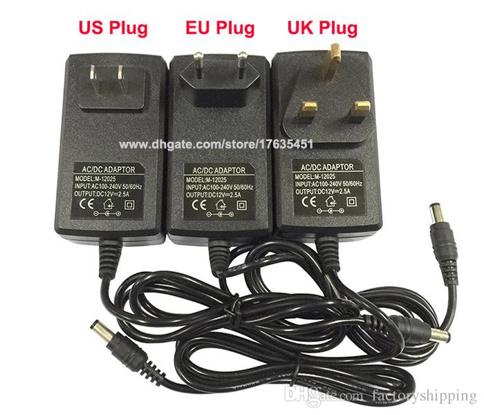 AC DC 12V 2.5A Power adapter charger Power Supply 5.5mm x 2.5mm US / EU / UK Fedex