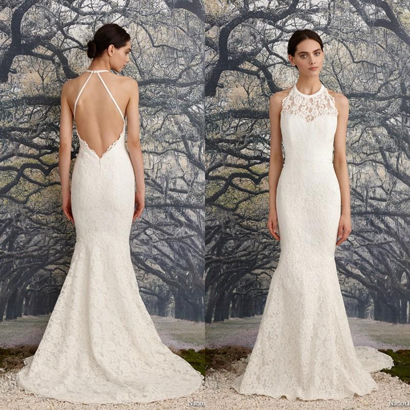 2016 Elegant Low Back Mermaid Wedding Dress Halter Jewel Neck Sexy Backless Bridal Gowns Sweep Train Custom Made Sleeveless Beach Wear Destination
