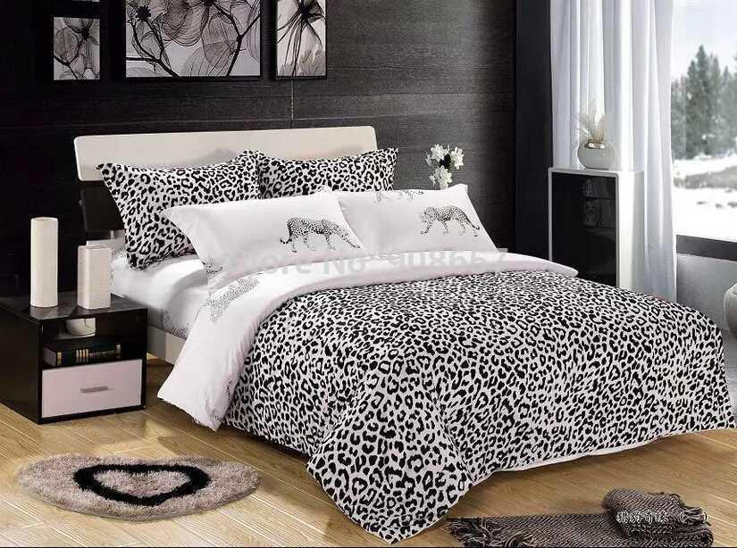 2017 Black White Leopard Skin Animal Print Bedding Set Oil