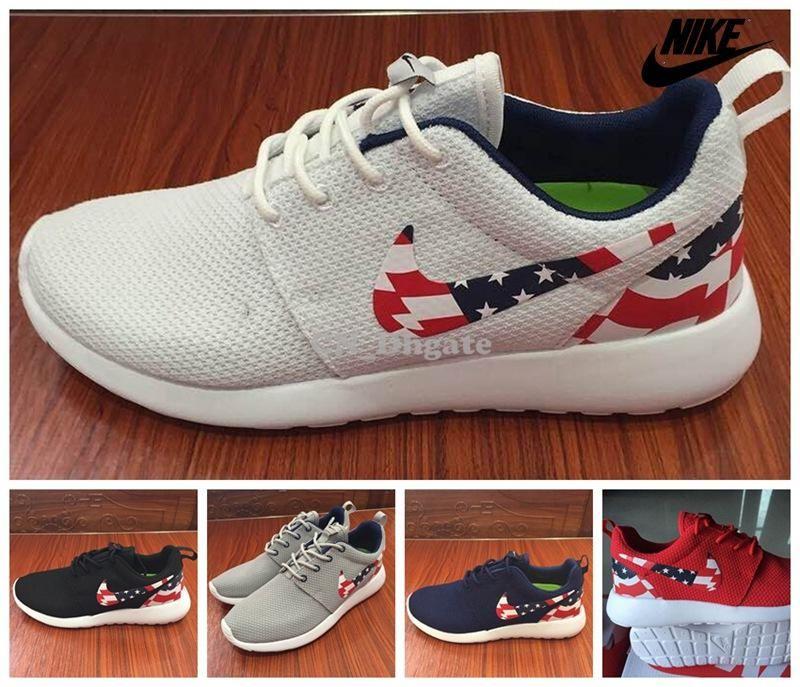 Blanc Et Bleu Rouge Nike Roshes
