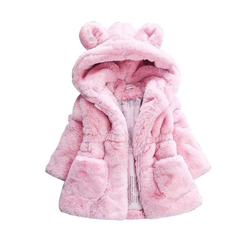 ac6e5fa5c Baby Girls Winter Coat Rabbit Ear Hooded Children Jacket for Girls ...