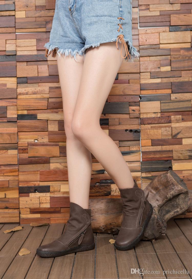 Guogen gros drop shipping appartements brun foncé en cuir fait à la main femmes moto bottes vintage qualité mode bottines taille35-40