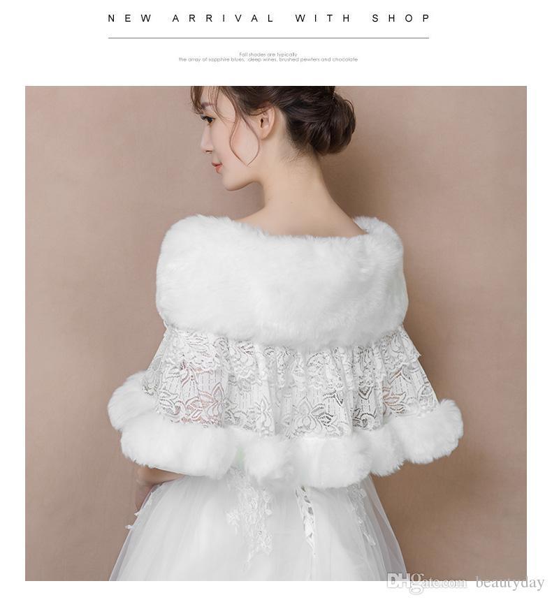 2019 Kış Düğün Ceket Gelin Faux Kürk Sararlar Sıcak Şallar Giyim Sarktı Kadınlar Dantel Rhinestone Kristaller Ceket Balo Akşam