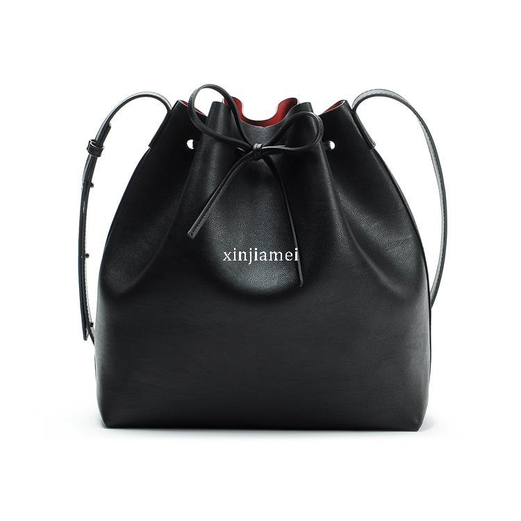 2015 Famous Brand Bucket Bags Big Black Leather Fake
