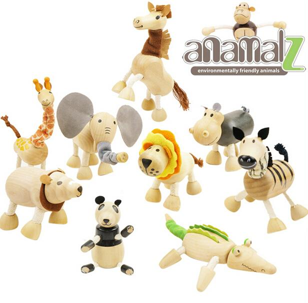 ANAMALZ Toys 24 Moveable Wooden Toys Zoo Animals Dolls Maple Wood Textiles Toys For Kids Free shipping