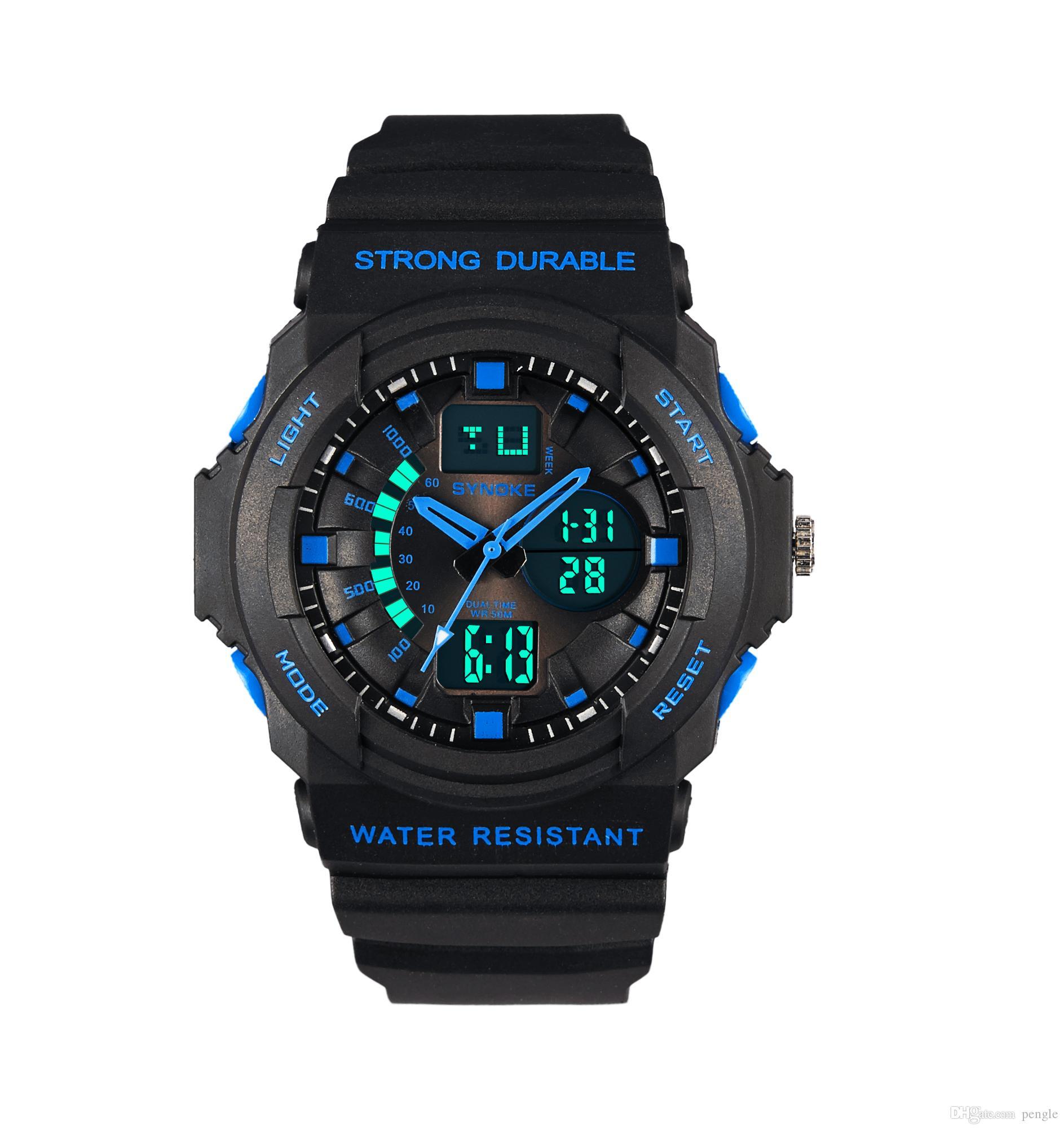New Fashion Men PU Leather Watch Quartz Movement Strap Round Dial Waterproof Sport LED Digital Watch