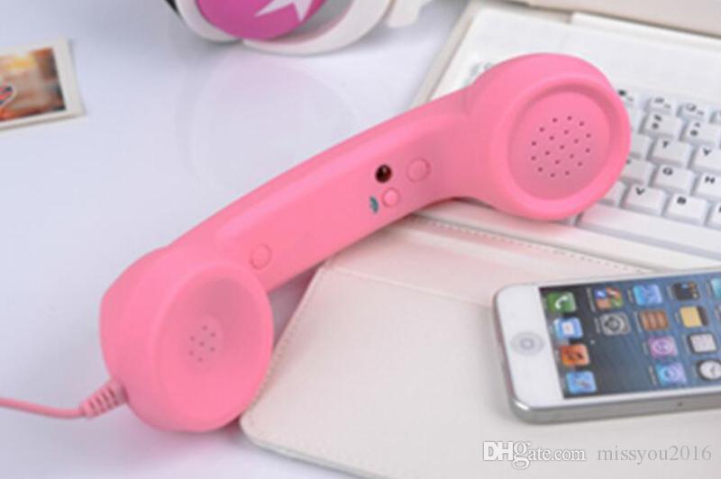 3.5mm Retro Telefono Telefono Ricevitori a prova di radiazioni Cellulare Microtelefono iPhone 4 5 6 7 Cuffie classiche MIC Microfono