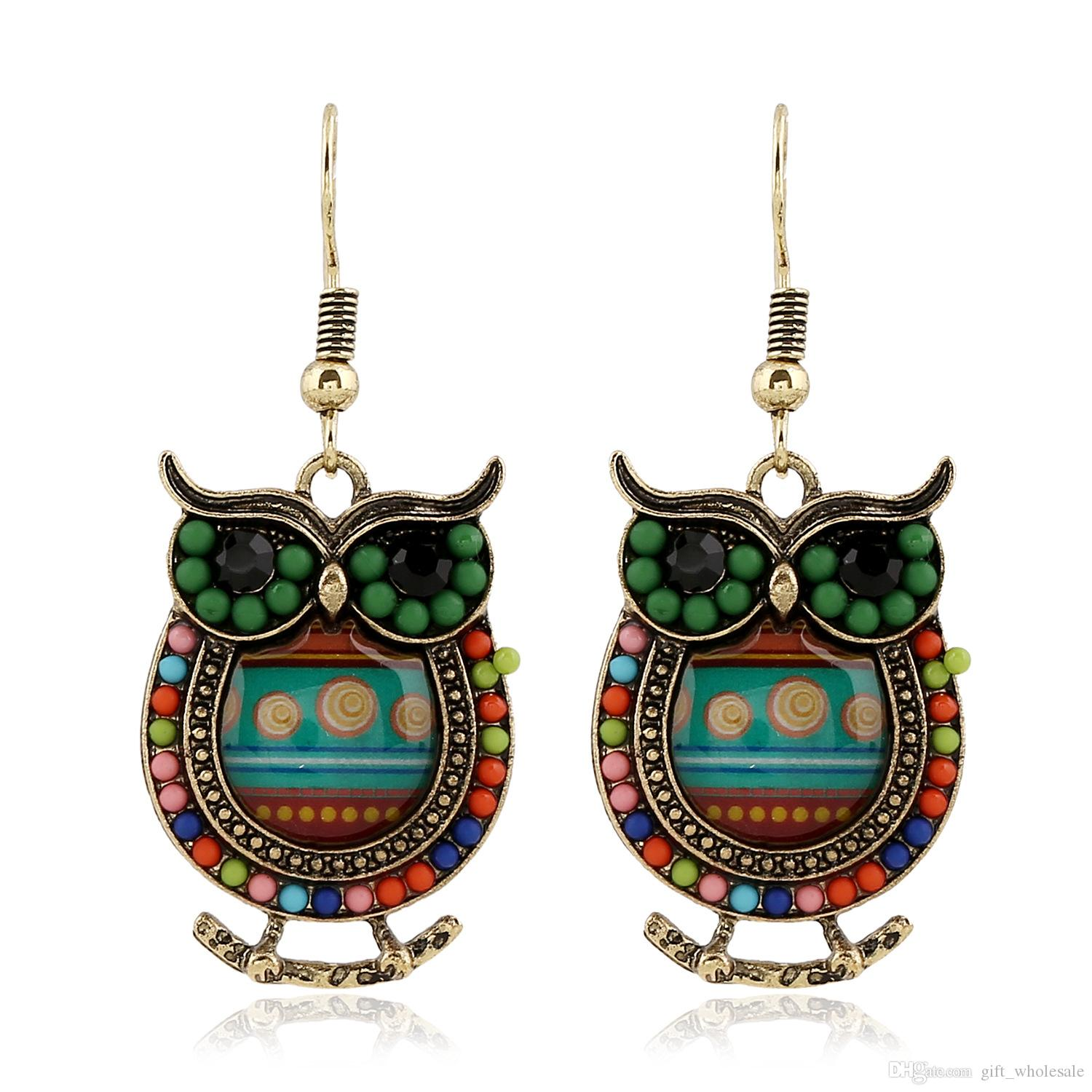 2016 Bohemian Colorful Owl Crystal Rhinestones Allergy Free Fish Hooks Earrings Dangles Chandelier Jewelry Blue Red Hot sell Items