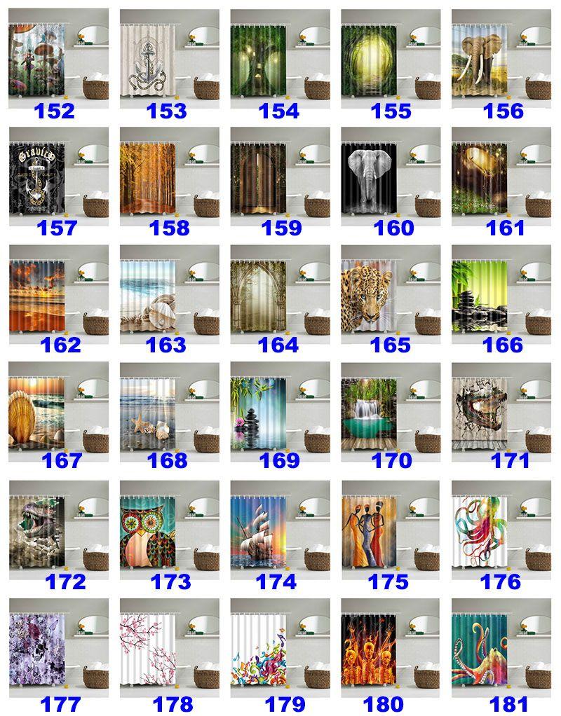 180 * 180 cm Weihnachten Duschvorhänge 3D Druck Baum Strand Shell Wasserdicht Bad Duschvorhang Dekoration Mit Haken WX9-143