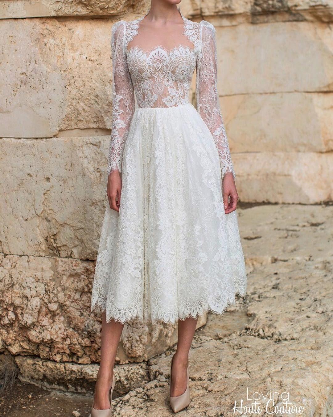 Elegant Long Sleeve Tea Length Wedding Dresses Simple: 2016 Full Lace Tea Length Wedding Dresses Long Sleeves