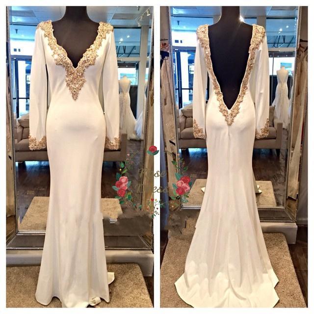 Simple Gold Lace Edge arabe femmes robe robe à manches longues col en V robes de soirée dos ouvert Fashion Dubai Kaftan Abaya parti robes de bal pas cher
