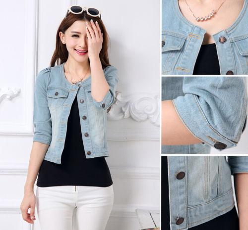 2015 New Fashion Women Ladies Girls Jeans Denim Jacket 3/4 Sleeve ...