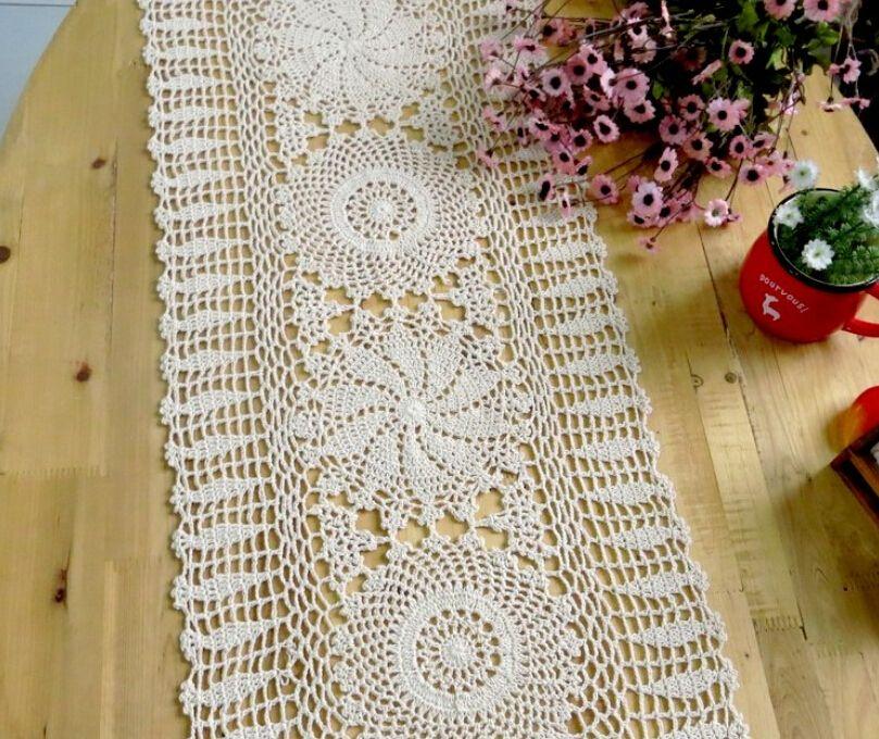 Handmade Crochet Rectangle Lace Crocheted Tablecloths European Cotton Knit  Openwork Linen Cupboard Cover Coffee Table Runner Cheap White Tablecloths  Linen ...