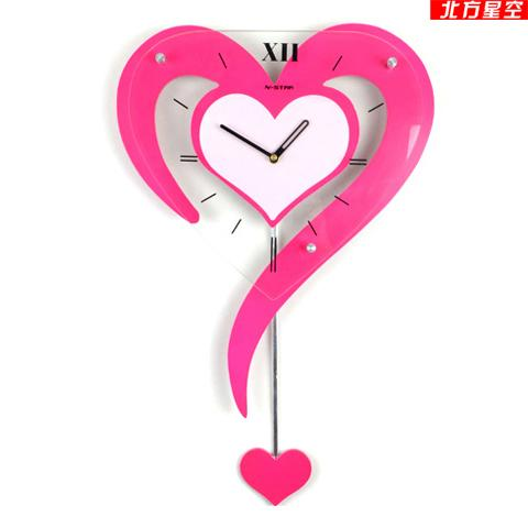 Designer Decoration Swing Wall Clock Pink Color Fashion Personality Heart Pocket Watch Rustic Clocks Creative Online With 19722 Piece On