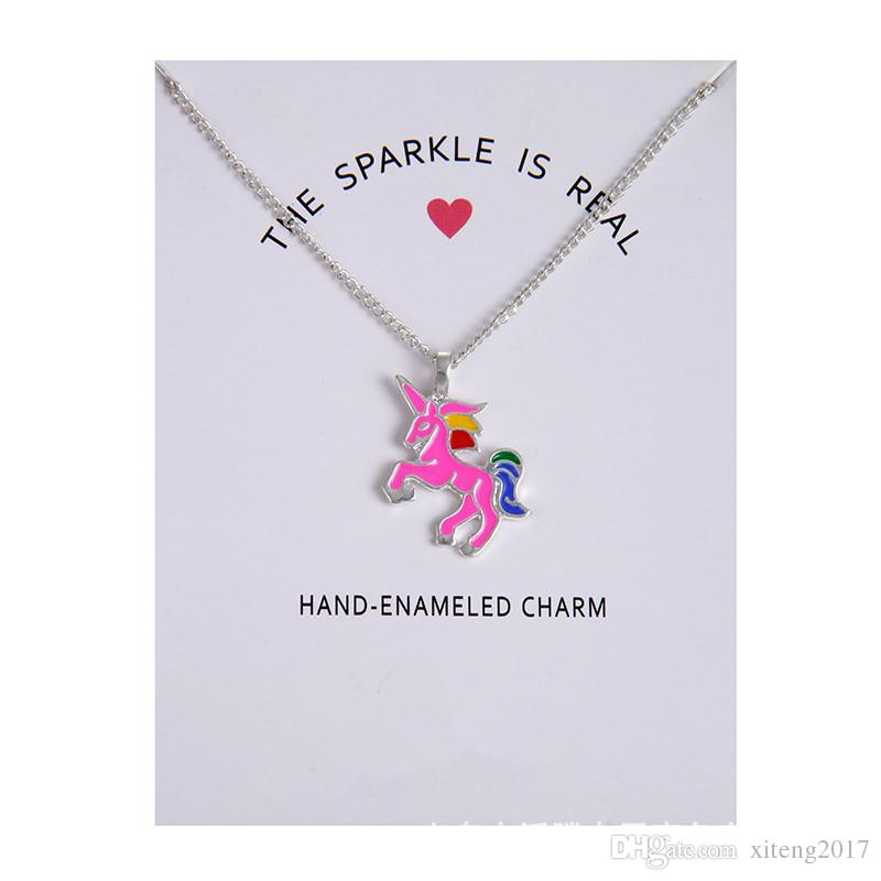 Fashion Jewelry New Arrived Silver & Gold Color Glaze The Sparkled Is Real Unicorn Animal Clavicle Pendant Necklace With Gift Card