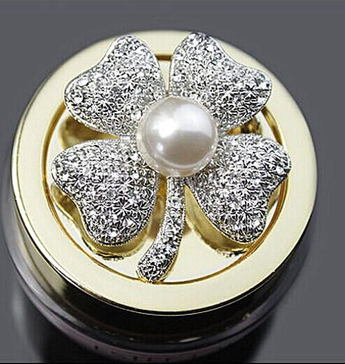 1.8 Inch Vintage Look Silver Plated Clear Rhinestone Crystal Diamante Ivory Pearl Clover Brooch Pins