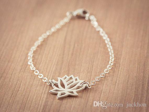 10 шт. - B013 мода золото серебро Лотос браслеты крошечные Лотос цветок браслеты для выпускного вечера йога лепесток браслеты для свадебные подарки