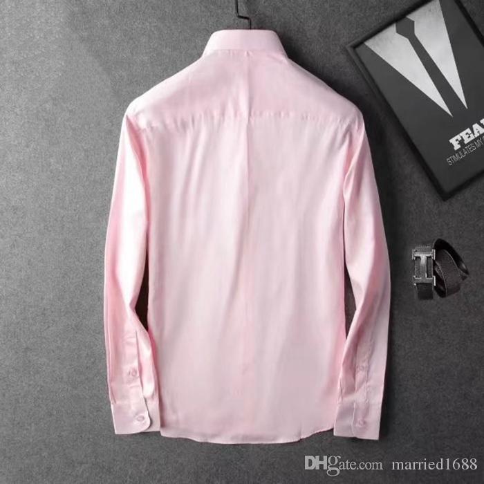 Marca de moda masculina 2019 camisa de moda masculina de manga larga versión de color sólido camisa masculina social masculina camisa nueva moda polo camisa