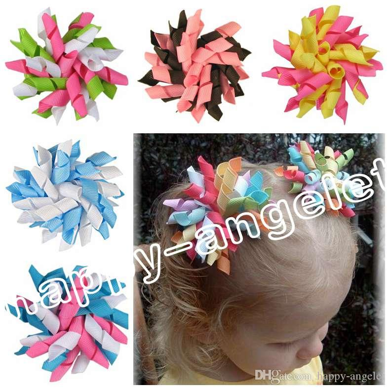 20pcs Children's baby curlers ribbon hair bows flowers clips corker hair barrettes korker ribbon hair ties bobbles hair accessories PD007