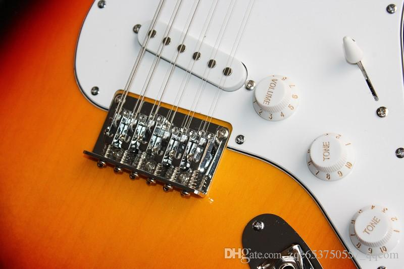 12-String Electric Guitar with Sunburst Body,White Pickgaurd,Maple Neck,Rosewood Fretboard and can be customized as your requests