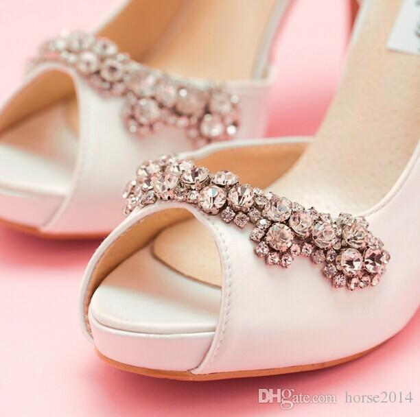 Frete grátis New Sexy luxo Handmade marfim Rhinestone sapatos de casamento sapatos de salto alto sapatos de noiva Peep Toe menina vestido de festa sapatos