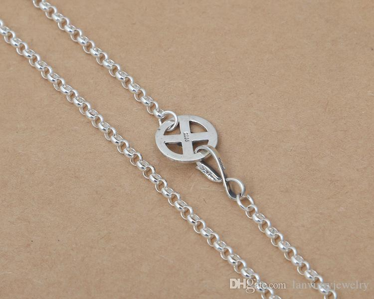 Luxury brand new 925 sterling silver vintage jewelry antique silver Japan unique necklace chain 4mm width 8 sizes length for men & women