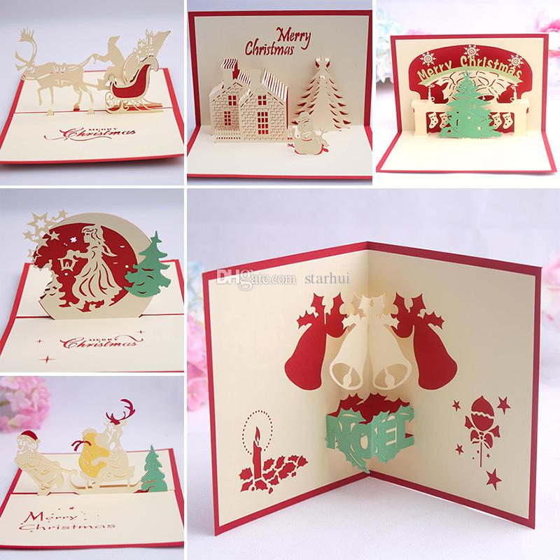 9 Design Christmas Card 3D Pop Up Greeting Card Christmas Bell Party ...