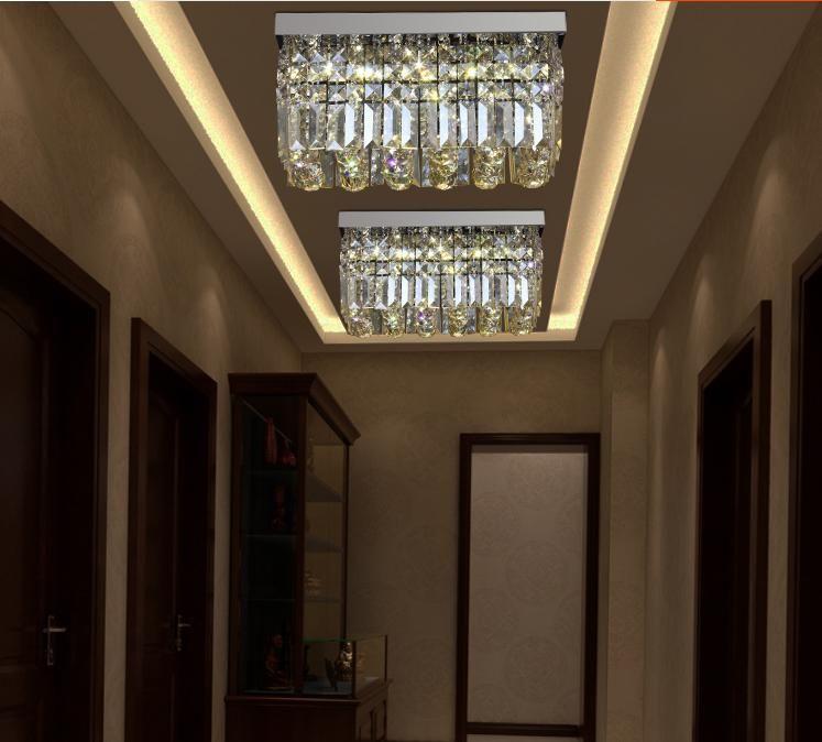 Modern k9 rectangle LED crystal Chandelier balcony lamp aisle lights ceiling light pendant lamps fitting for hallway Bedroom led lighting