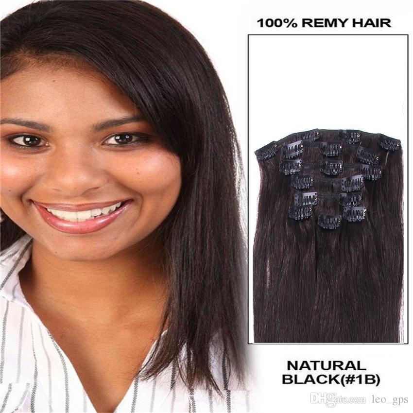 16 18 20 22 Full Head Clip In Hair Extensionsremy Human Hair