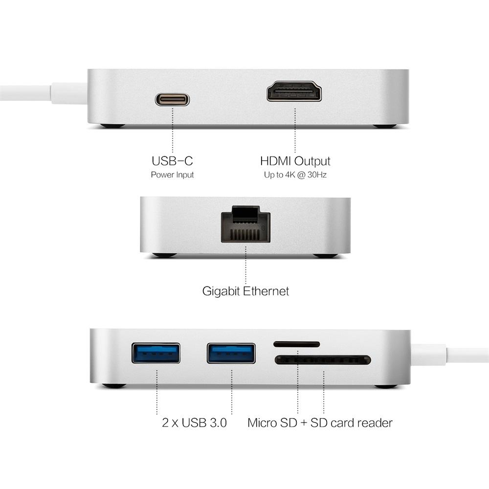 Freeshipping USB-C Multiport Adapter with VGA Compatible with Apple MacBook TF and SD Card Readers Gigabit Ethernet Port