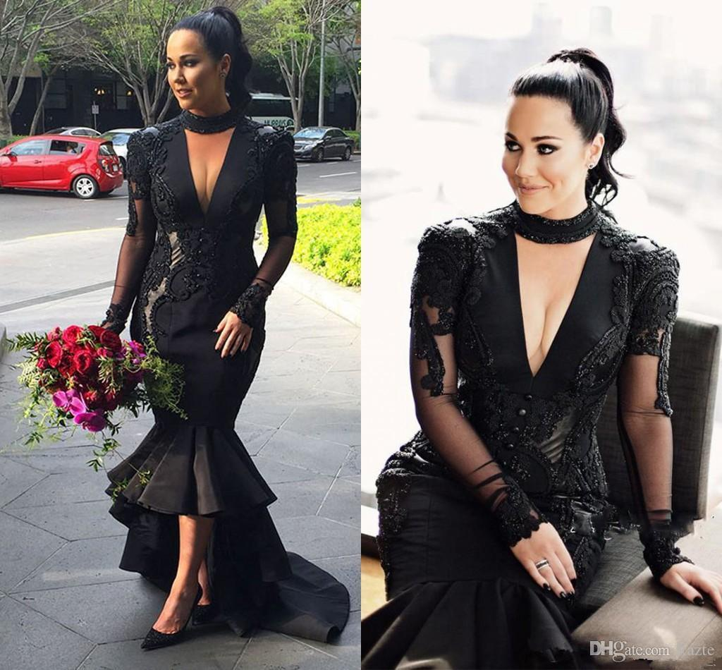 kim kardashian black deep v neck prom dresses 2018 plus