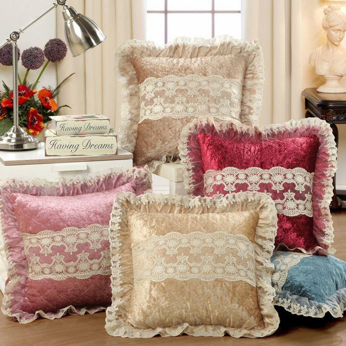 Lovely Classical Lace Sofa Cushion Cover Gold Velvet Design Throw Pillow Case Car  Home Decorative Square 45x45cm High Quality Pillow Cover Online Embroidered  ...