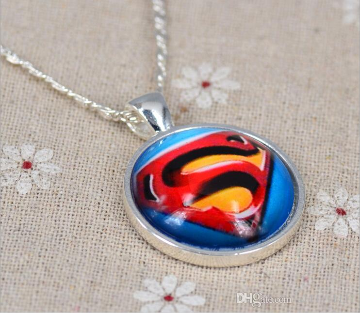 The Avenger Super Man Logo Necklace Marvel Super Hero Necklace Time Gem Glass Cabochon Necklace Movie Jewelry
