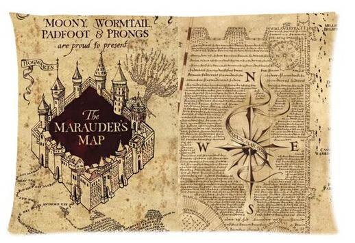 Karte Des Rumtreibers.Harry Potter Die Karte Des Rumtreibers Coole Muster Benutzerdefinierte Kissenbezug Cover Zwei Seiten Bildgröße 20x30 Zoll