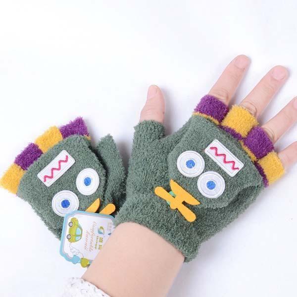 Cartoon Fingerless Mittens Kids Glove Kid Crochet Gloves 2015 Boys ...