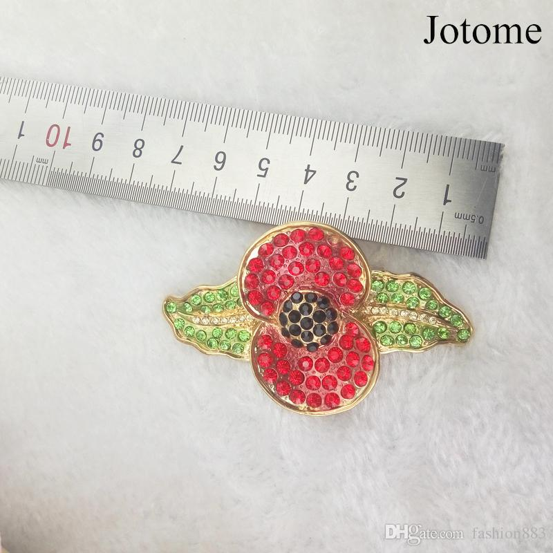 Fashion Flowers pin Vintage Red and Green leaf Poppy Brooch In Gold Plating for Women Jewelry