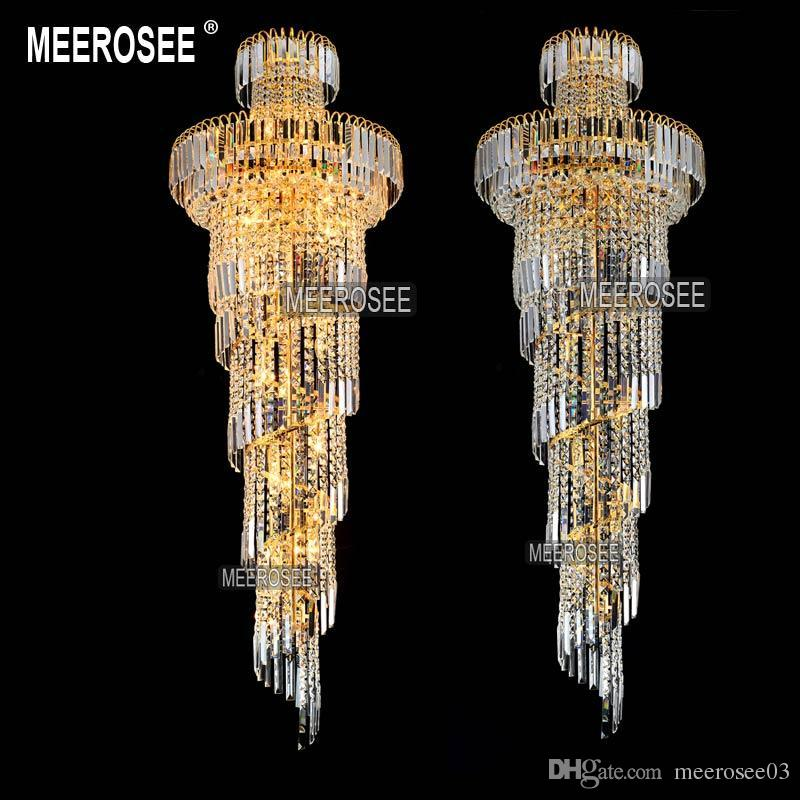 Long spiral gold or silver crystal chandelier lighting fixture long spiral gold or silver crystal chandelier lighting fixture lustre crystal hanging lamp for restaurant hotel lobby md8500 crystal chandelier silver aloadofball Choice Image