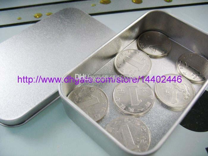 주석 컨테이너 저장 상자 금속 사각형 구슬 비즈니스 카드 사탕 허브 케이스 9.4cm x 5.9cm x 2.1cm 슬리버