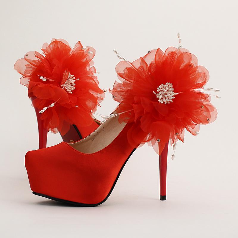 Новый дизайн красный атлас Стилет высокий каблук свадебные туфли круглый носок платформы свадебные туфли кружева аппликации Леди вечернее платье обувь