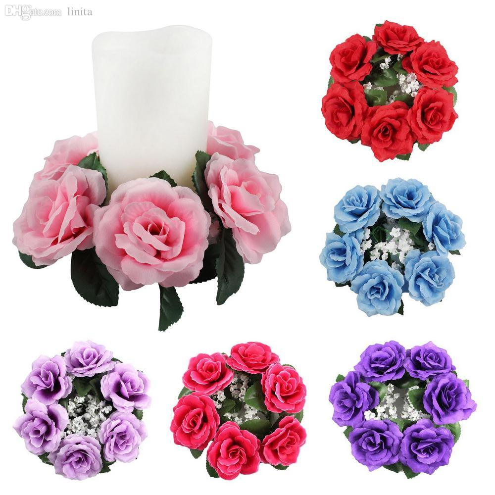 2018 Wholesale Large Floral Candle Rings Wedding Centerpieces Silk