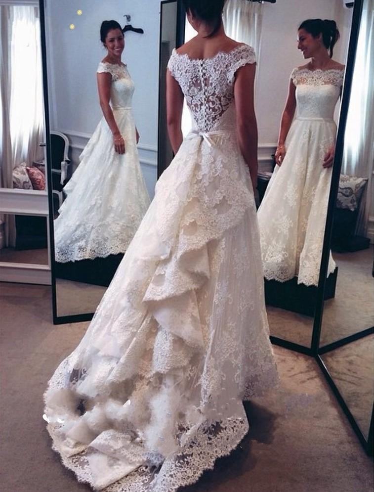 새로운 디자인 라인 레이스 웨딩 드레스 2019 보트 넥 캡 슬리브 프릴 코트 트레인 신부 가운