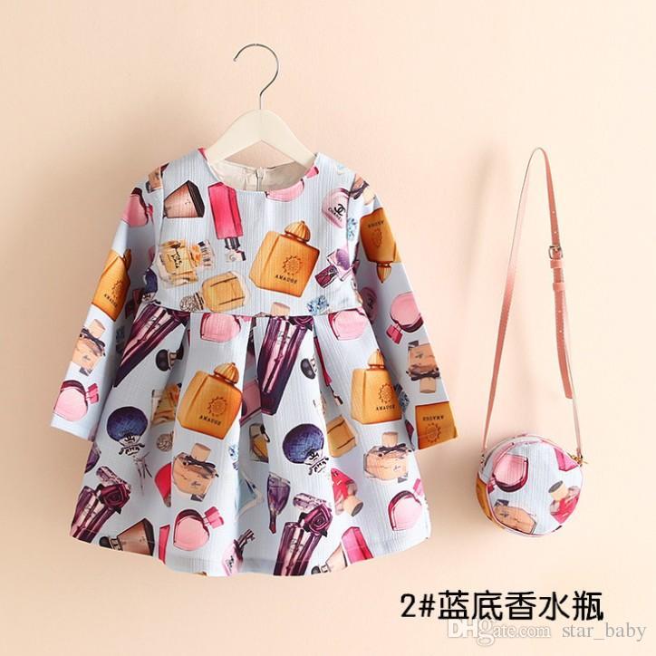 16 Стиль мультфильм европейских девочек платье с сумочку хлопок Детская одежда партии пачки платья детей девочка хлопка Одежда K6969